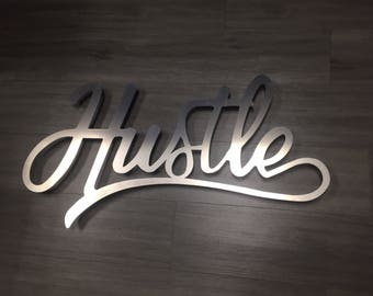 Hustle Large Metal Wall Art - Word Art - Hustle Art - Metal Art - Wall Art - Silver Art - Home Decor - Motivational Art