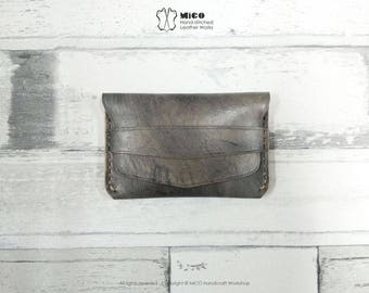 MICO Hand-stitched Leather Flap Slim Wallet