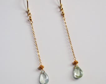 Aquamarine dangle drop earrings 18k gold plated on sterling silver
