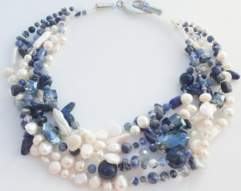lapiz lazuli and freshwater pearl necklace with crystals