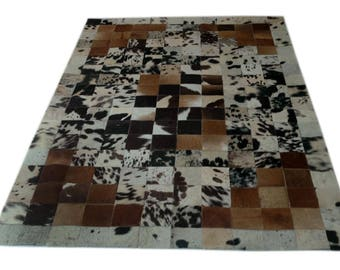 Handmade Cowhide Patchwork Rug - Beautiful Hair On Carpet - Luxurious Rug - R-08