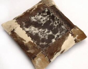 Natural Cowhide Luxurious Patchwork Hairon Cushion/pillow Cover (15''x 15'')a207