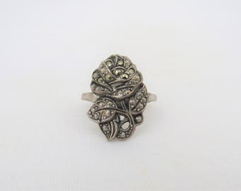 Antique Vintage Art Deco Sterling Silver Marcasite Rose Flower Ring Size 7.5