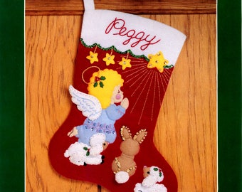 "Bucilla Littlest Angel ~ 15"" Felt Christmas Stocking Kit #33094, Animals, Star"