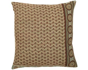 Kantha Cushion Cover - Brown and Beige