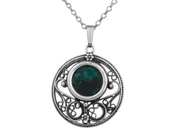 Natural Blue Green Eilat Stone Filigree Pendant Sterling Silver Round Necklce