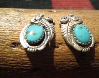 Vintage Turquoise and Sterling Silver Feather Post Earrings