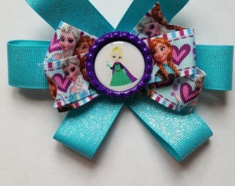 Frozen inspired rosette hair bow