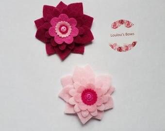 2 coordinating felt flower clips