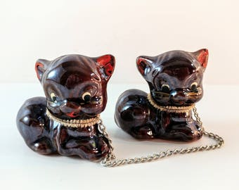 Set of Two Brown Lusterware Ceramic Chained Kittens. Mid Century Cat Figurines. Collectible Kitsch. 1950's Decor.