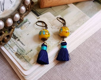 Tassel earrings lampwork beads Boho chic Yellow Navy blue Aqua dangling earrings