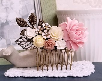 Baby pink mauve and white roses Shabby chic decorative comb Pink flower wedding comb