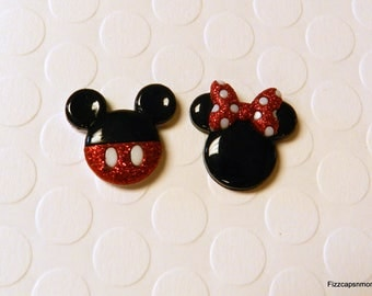 Mickey & Minnie Mouse Set Lapel Pins With Glitter Brooch Flair Tie Tack Hat Pin