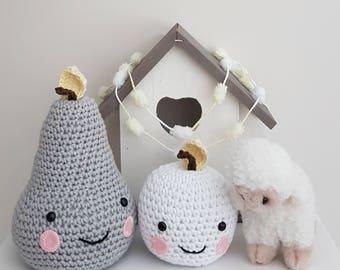 Crochet Pear and Apple - Yellow Grey Nursery Decor - Yellow Grey Nursery Accessory - Baby Shower Gift - Crochet Fruit - Babies Accessory