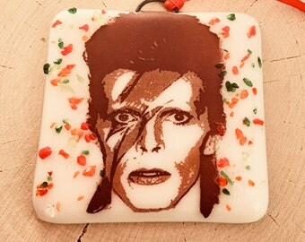 David Bowie Christmas Ornament Fused Glass