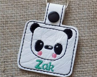 school bag tag, personalised keyring, back to school, panda, book bag tag, personalised bag tag, keychain, childrens name tag, kids name tag