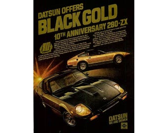 Vintage poster advertisement of a Datsun 280-ZX Black Gold
