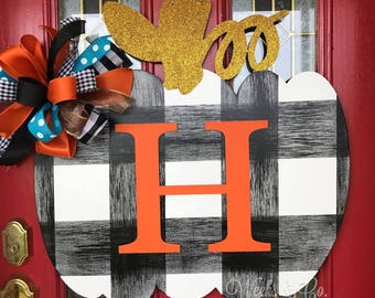 Buffalo Check Pumpkin with Bold Initial Black and White Plaid Fall Door Hanger Plain Font Initial