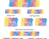 Premade etsy shop banner set, new & old style cover set sizes, 9 pieces, on trend watercolour rainbow background, business branding, logo,