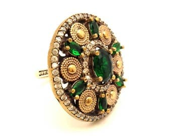 Ring Topaz Genuine Vintage Two Tone Silver 925 Gold Plated 14K Green Emerald Austrian Crystals