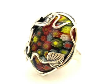 Ring Victorian Style Silver 925 Multicolored Art Glass Murano Italy Excellent Vintage
