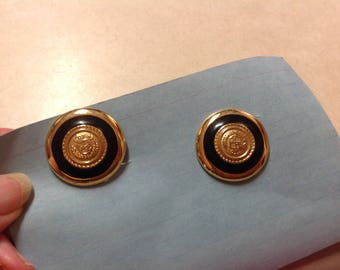 Vintage earrings LCI clip on crest button gold tone black Enamel designer signed, button black gold Enamel pierced earrings, LCI earrings