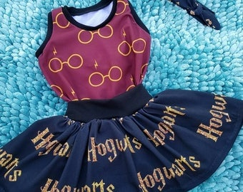 Harry Potter baby toddler girls wizard outfit, Harry potter skirt outfit, wizard skirt birthday outfit, Potter Gryffindor baby kids skirt