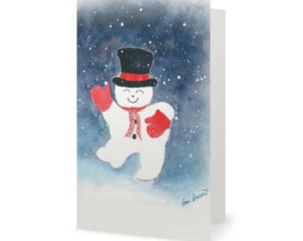 PRINTED HOLIDAY CARD 10-piece set featuring a dancing snowman; a watercolor by Pam Ponsart of Pam's Fab Photos