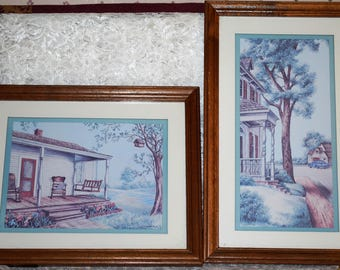 Kay Lamb Shannon Signed 2 Pc Set Framed Matted Country House Scene Prints