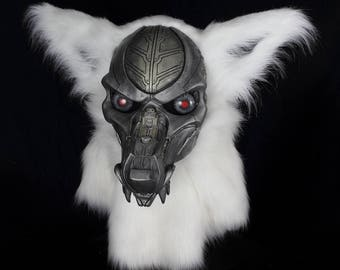 Terminator Fursuit fur suit head realistic mask, robot gothic horror articulated jaw,realistic eyes  furry furries costume VOODOO DELICIOUS