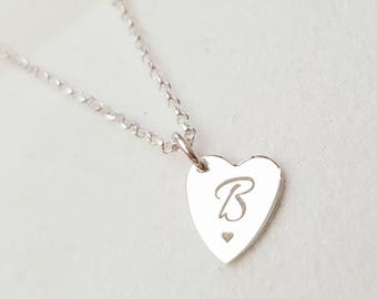 Personalised Initial Heart Necklace Sterling Silver Christmas Gift Boxed Sister Gift Bridesmaids