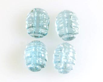 Aquamarine Hand Carved Cabochons Set of Four 8x6mm Ovals