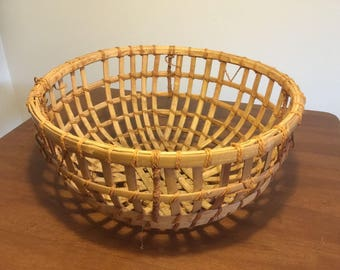 "Vintage Large Indian Woven Bamboo Basket 21"" Across, Boho Bohemian"