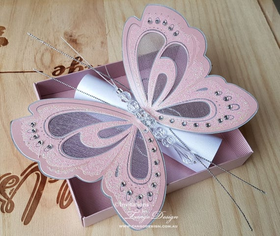 Butterfly invitations Pink butterfly wings invitation for – Wedding Butterfly Invitations