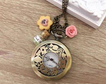 Alice In Wonderland Watch necklace - Collana Orologio Alice Nel Paese Delle Meraviglie