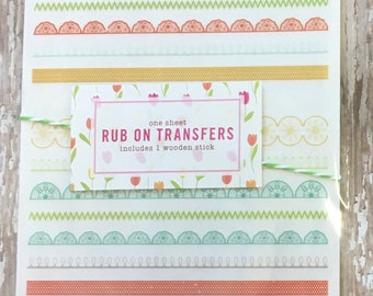 Rub On Transfers Patterned  Borders  1 Sheet - Scrapbooking - Journaling - Papercraft - Planner Supplies - Decoration