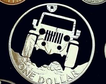 Jeep keychain cut from an Eisenhower dollar