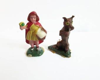 Little Red Riding Hood, Big Bad Wolf, Fairykins Disneykins, Marx Toys, Nursery Rhymes, Hand Painted Miniature Figurines, Vintage Disney Toy