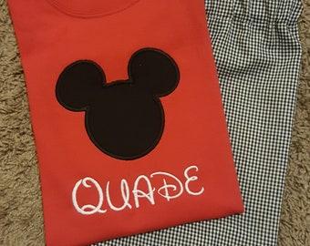 Monogrammed Personalized Boys 2 pc Mouse Head applique Shirt Shorts set