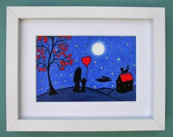 Mother Daughter Moon Art, Daughter Gift, Mother Child Heart Moon Stars Framed Print, Mother Gift, Child Love Art, Cat Hare Moon Stars, Blue
