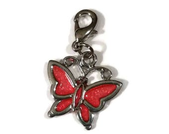 Coral Pink Butterfly CHARM Lobster Clasp Enamel Glitter Cell Phone Jewelry Supply Stitch Counter Journal Planner Marker Purse Charm Bracelet