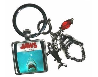Jaws KeyChain Shark Charms Key Ring Fob Removable Bag Purse Charm Great White Shark Week Party Favor Jaws Movie Fan Shark Attack Bite Gift