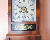 Antique Mantle Clock Mahogany Wood Jerome Co 1800 Pendulum Clock Rustic Shelf Timepiece Farmhouse Chime Clock Shabby Chic Cottage 1 Day Wind