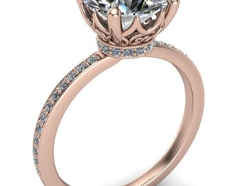Sasha Round Forever One Hearts & Arrows Moissanite Filigree Basket Design and Diamond Neck and Shoulders Ring