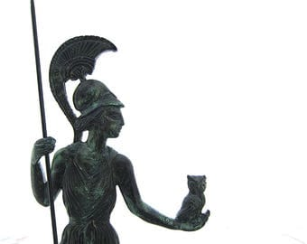 Athena statue holding sacred owl , Godess statue , Bronze Sculpture height 13 inches