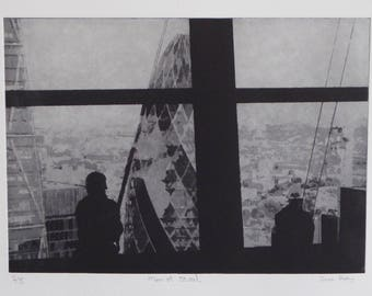 Men of Steel - Solar plate etching, London, Gherkin,  Wallie talkie  building, window cleaners, abseil, Skygarden