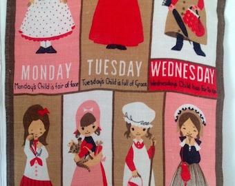 Vintage Irish Linen Tea Towel - Mondays Child - By Ulster Weavers 1970s - Wall Hanging