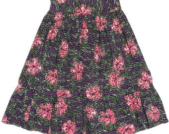 "True 1950s Vintage Abstract Modern Floral Print Cotton Summer Skirt: Size S/M - 28"" Waist"