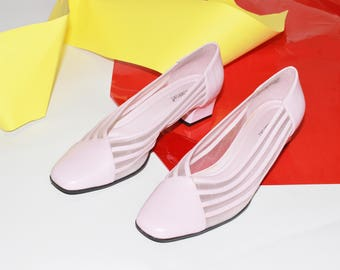 80s pink mesh striped see through block heel pumps SIZE 8