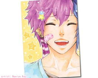 "ACEO ATC Print ""Who Cares?!"" Cute Pastel Manga Boy, Anime Portrait Art, Emo Boy Drawing, Pastel Colored Scene Art, Kawaii Kakaoauflage"